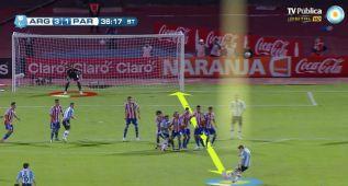 El libre directo maestro de Messi ante Paraguay en 2012