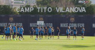 Último entrenamiento del Barça antes de viajar a Italia