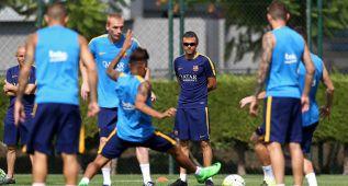 Entrenamiento conjunto del primer equipo y el Barça B