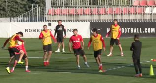 El rondo de categoría del Atlético en el entrenamiento