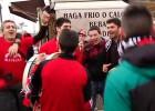 La afición del Mirandés toma las calles de Sevilla