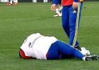 Jordi Alba da el susto en el entreno de La Roja en Údine