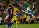 El lío entre Adán y Pezzella regaló el primer gol a Rakitic