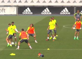 Último entrenamiento del Madrid antes de viajar a Milán