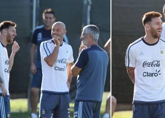 Messi, feliz en la Albiceleste: su no parar de reír con Masche