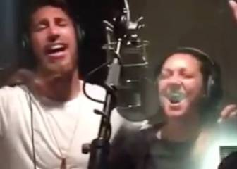Sergio Ramos y Niña Pastori cantan la canción de La Roja