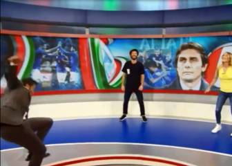 ¡Fuerte caída de Del Piero en un programa de TV en vivo!