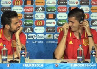 La carcajada de Morata con la traducción: ¡Se partió de risa!