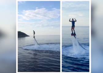 ¡Qué arte tiene Ramos! Ni se cae haciendo 'flyboard'