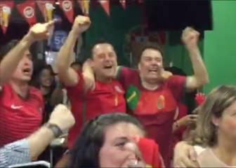 La alegría de Roncero y los portugueses en el gol de Éder
