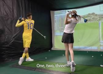 Neymar aprende a jugar al golf con una guapa profesora