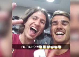 Griezmann canta el cumpleaños feliz a Filipe