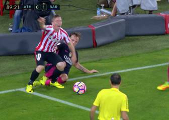 El Athletic protestó un posible penalti de Rakitic a Muniain
