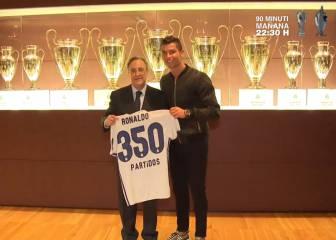 Cristiano celebra junto a Florentino sus 350 partidos