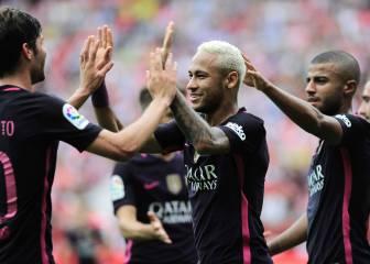 El Barça se divierte sin Messi y golea en el Molinón