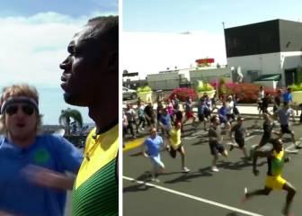 Los 100m más peculiares de Bolt: contra 50... ¡y Owen Wilson!