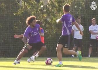 Marcelo y Benzema se ejercitan al ritmo del grupo