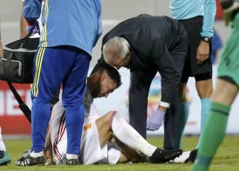 Sergio Ramos se retiró por una lesión en la rodilla izquierda