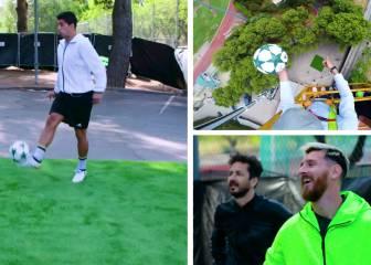 Luis Suárez pincha un balón desde 35m y Messi alucina
