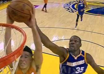 Genios: taponazo de Durant y triple loco de Curry, porque sí