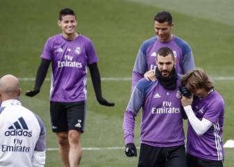 Benzema se ejercita con normalidad y apunta al derbi