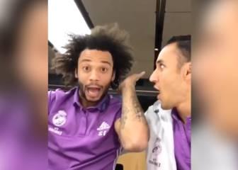 Marcelo, Keylor y su divertida manera de celebrar la victoria