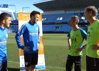 Antón y Fiz calientan en la Rosaleda para la Maratón