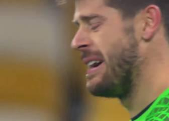 El llanto de Fabri al encajar el cuarto gol del Dinamo de Kiev