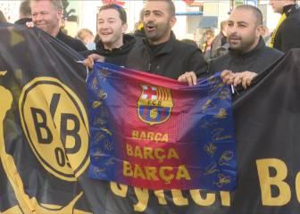 La afición del Dortmund invocó al Barça en el centro de Madrid