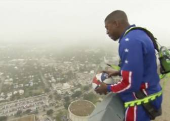 Buckets Blakes drops 178-metre shot off San Antonio Tower!