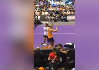 Maria Sharapova shows off her dance moves on court return
