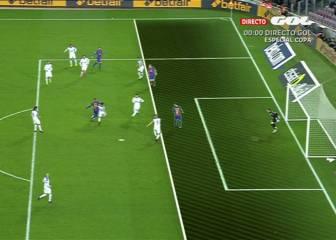 Fuera de juego de Digne en el primer gol del Barcelona