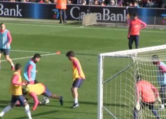 ¿En serio, Messi? Barbaridad de doble caño a Umtiti y Masip