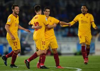 El Sevilla arrasa en Anoeta y sigue en la lucha por la Liga