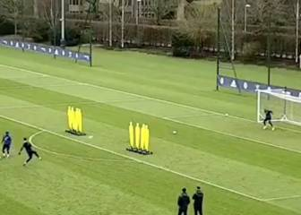 Courtois displays his free-kick skills with top-corner belter