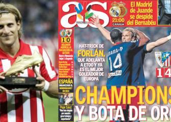La inolvidable gesta de Forlán en San Mamés: hat-trick de Oro