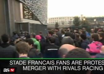 Stade Francais fans protest Racing 92 merger