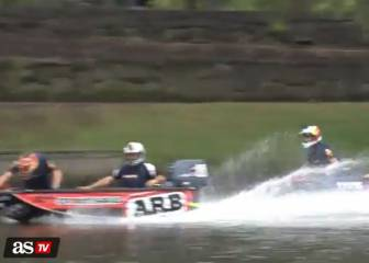 F1 dinghy race: Ricciardo and Verstappen warm up on water