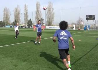 Real Madrid stars show off skills with games of football tennis