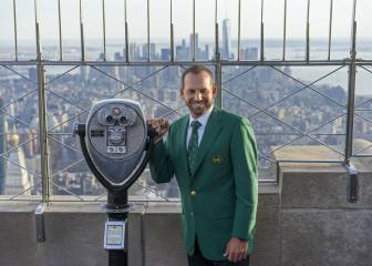 Masters champ García shows off green jacket in New York