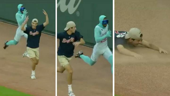 Braves fan celebrates early and bites dust in race against Freeze