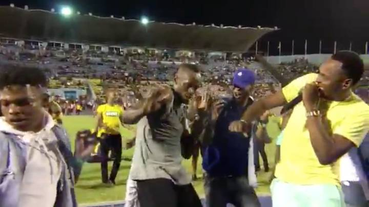 Bolt celebrates with dance after winning final 100m in Jamaica