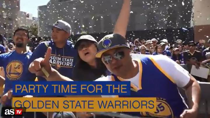 Golden State Warriors parade their championship trophy