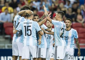 Messi-less Argentina hit Singapore for six