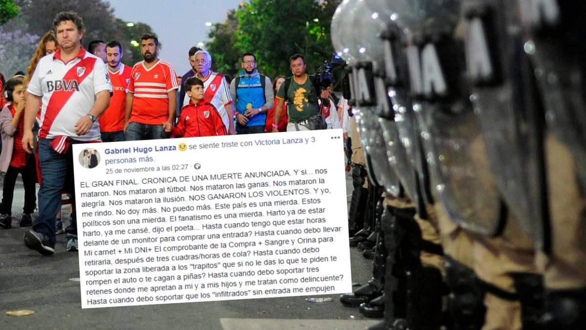 "La carta viral del hincha de River: ""¡Métanse la Copa en el orto!"""