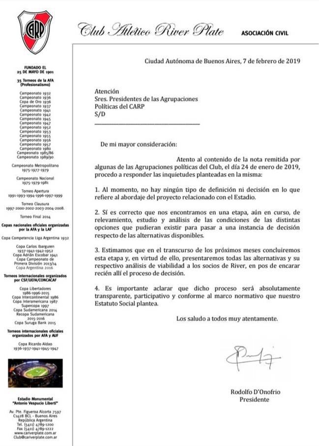 c9bac1f8a99 River Plate Primera nota oficial sobre el proyecto del nuevo estadio ...