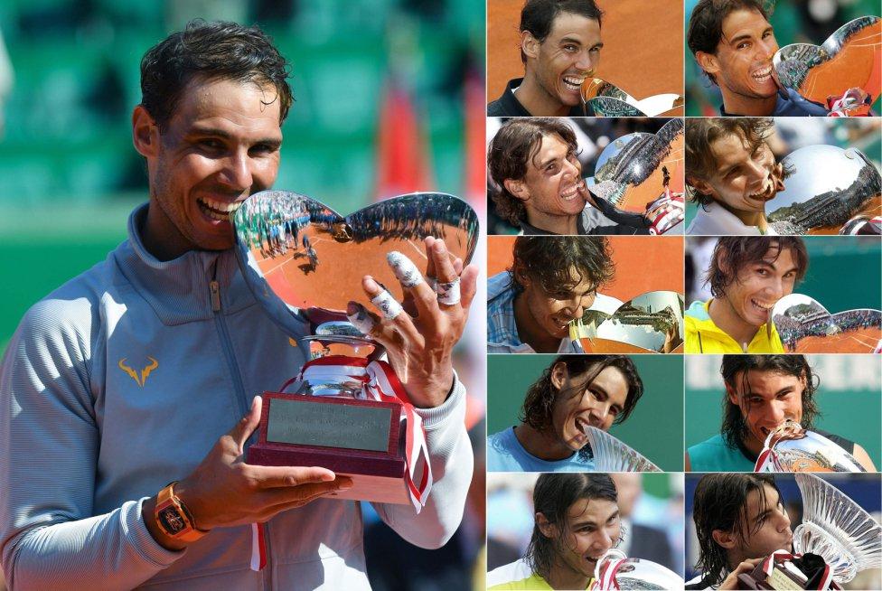 Mordiscos de campeón. El tenista Rafa Nadal muerde el último trofeo conquistado en Montecarlo. El montaje fotográfico muestra los diez mordiscos de Nadal a los otros trofeos logrados en este torneo.