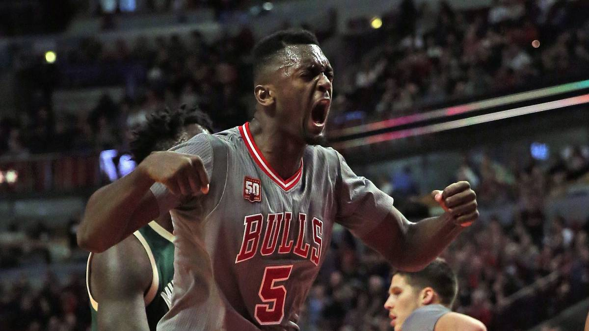 Bobby Portis, durante el Milwaukee Bucks-Chicago Bulls de la temporada 2015-16.
