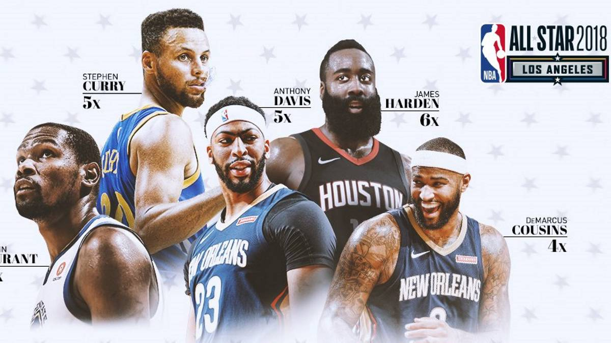 Kevin Durant, Stephen Curry, Anthony Davis, James Harden y DeMarcus Cousins.