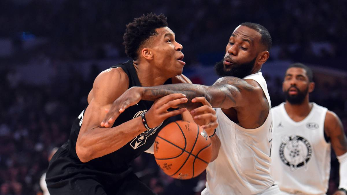 Giannis Antetokounmpo y LeBron James, durante el All Star Game 2018 de Los Ángeles.